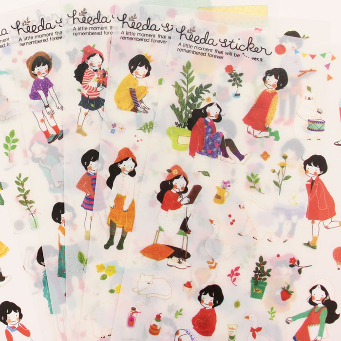 6Sheets Cartoon Girls Daily Life PVC Decorative Sticker Diary Album Label Sticker DIY Scrapbooking Stationery Stickers Escolar