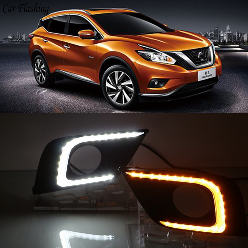Car Flashing 1Set For Nissan Murano 2015 2016 DRL Daytime Running Lights Daylight Fog Light Cover With Turn Yellow Signal Lamp