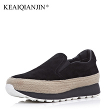 KEAIQIANJIN Woman Flat Platform Flats Creepers Spring Autumn Fringe Shoes Black espadrilles Women Genuine Leather Dames Schoenen