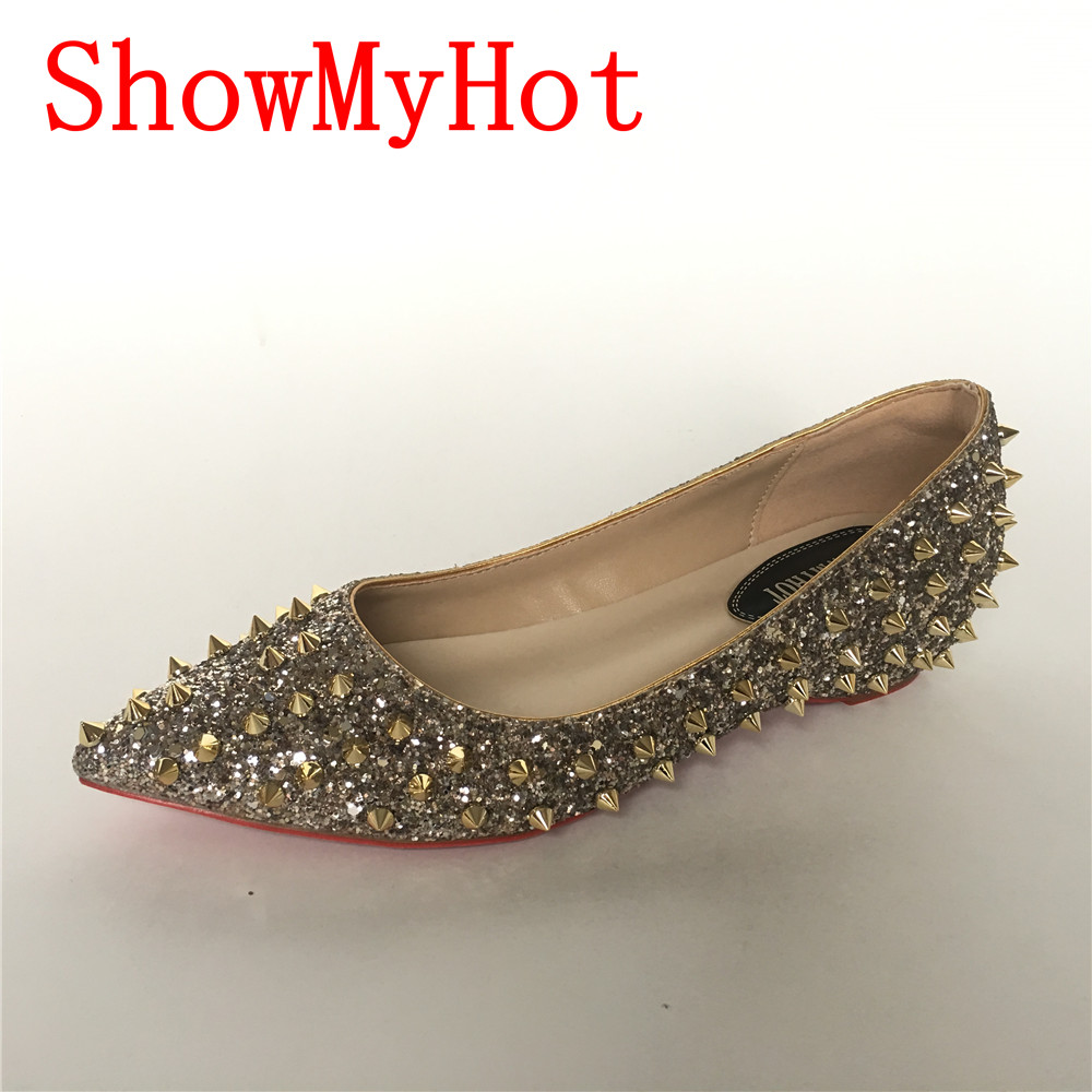 ShowMyHot Spring New Punk Rivets Flats Woman Pointed Toe High Quality Studs Shoes Slip On Loafers