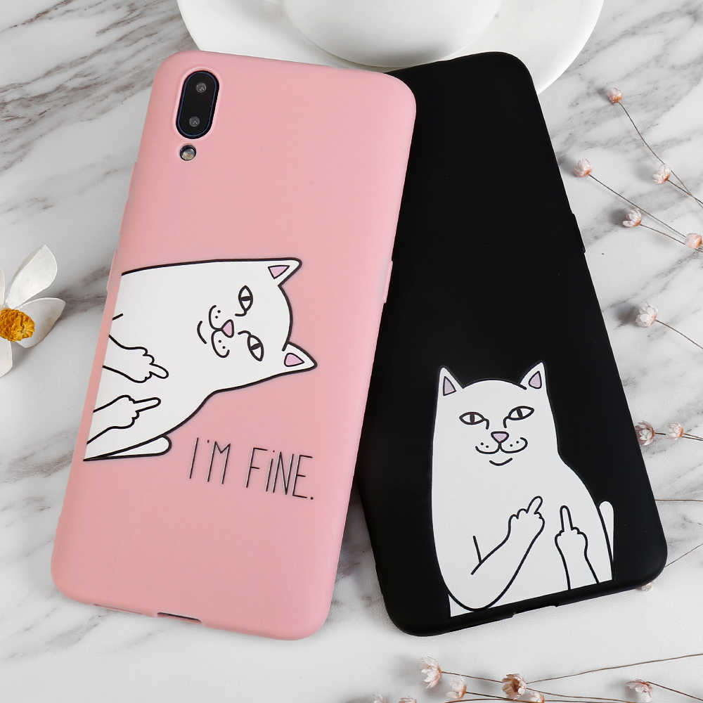 Patterns Middle Finger Cat Matte Soft TPU Cases For OPPO R15 R9 R9S R11 R11S R7 R7S Plus A83 A71 A77 A79 A3 R15X A5S Back Cover
