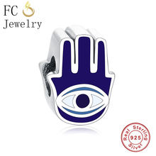 FC Jewelry Fit Original Pandora Charm Bracelets 925 Sterling Silver Blue Enamel Palm Hand White Evil Eye Beads Making Berloque(China)