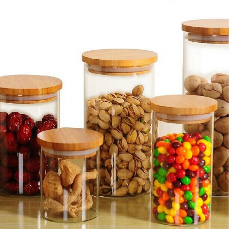 Glass Storage Bottle with Bamboo Lid Kitchen Accessories