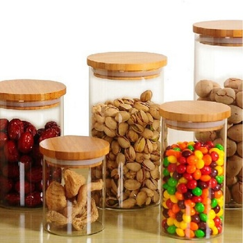 Glass Sealed Storage Bottle Moisture-proof Transparent Coffee Nuts Foods Storage Canisters with Bamboo Lid Kitchen Accessories 1