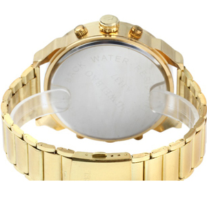 Image 5 - XFCS reloj grande de acero dorado para hombre, de cuarzo, informal, con doble horario, Militar
