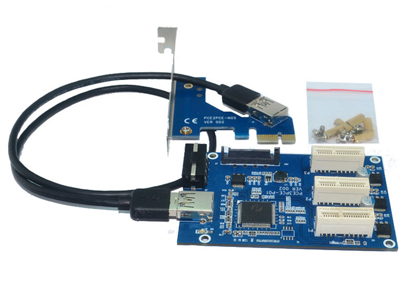 PCI-e Express 1X to 3 Port 1X Switch Multiplier HUB Riser Card + USB 3.0 Cable HOT Selling Drop Shipping  hot sale pci e express 1x to 3 port 1x switch multiplier hub riser card usb cable 1 pc drop shipping gifts wholesale