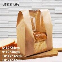 Lbsisi vida 50 pçs papel kraft pão claro evitar a embalagem de óleo brinde janela saco de cozimento takeaway pacote de alimentos bolo festa