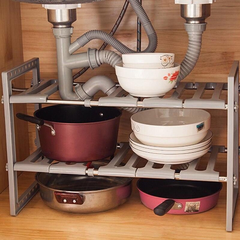 Etagère Extensible en acier inoxydable pour évier | Étagère de rangement pour la cuisine, étagère de rangement à Double pont pour chaussures et livres, étagère d'organisation au sol