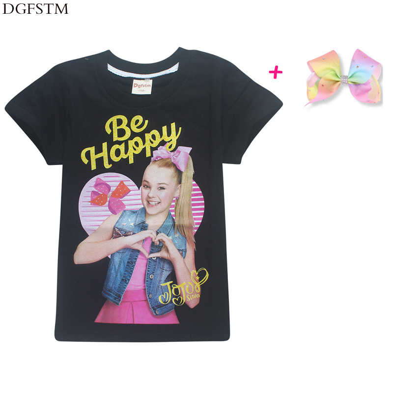 64188a70df6ce Summer cotton children's cartoon character JOJO siwa girls short-sleeved  T-shirt jacket + bow hair accessories clothing 4-12Y
