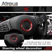 Atreus 1pcs Car Steering Wheel Ring Stickers For Mercedes Benz W205 W204 W211 W210 GLC GLK CLA CLK A B E C class AMG Accessories(China)