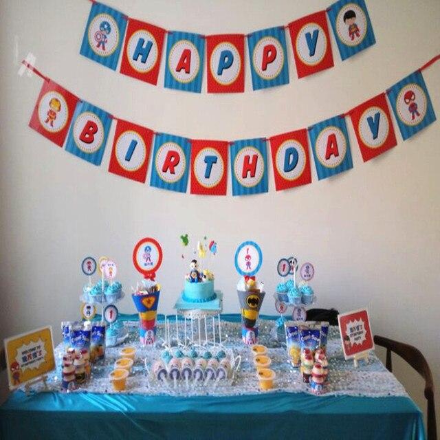 Customized birthday party decorationssuper hero captain theme boys
