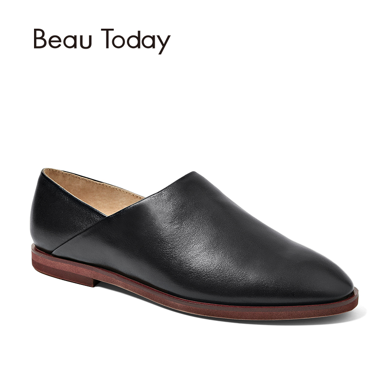 BeauToday D'orsay Flats Women Genuine Calfskin Leather Round Toe Slip-On Fashion Lady Brand Shoes Handmade 24025 beautoday loafers women top quality brand flats genuine leather metal decorated square toe calfskin shoes mix colors 15701