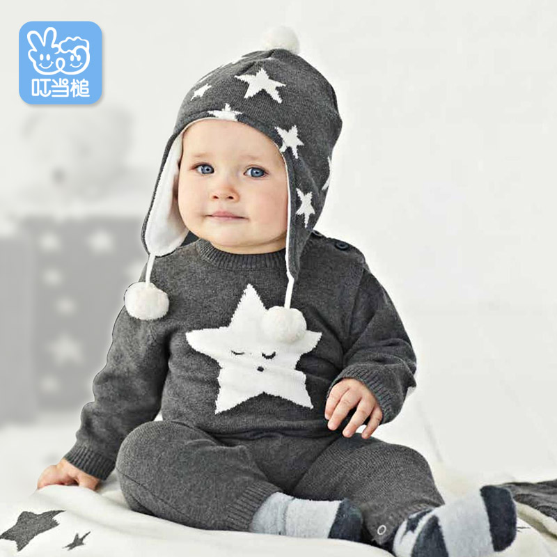 Dinstry  Newborns baby clothes with star patterned spring and autumn Romper dinstry spring