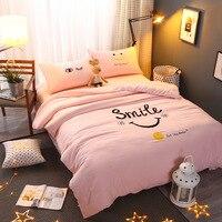 Helengili eenvoudige moderne stijl streep beddengoed sets dekbedovertrek set linnen comfortabele hoge kwaliteit roze blauw cartoon voor meisje