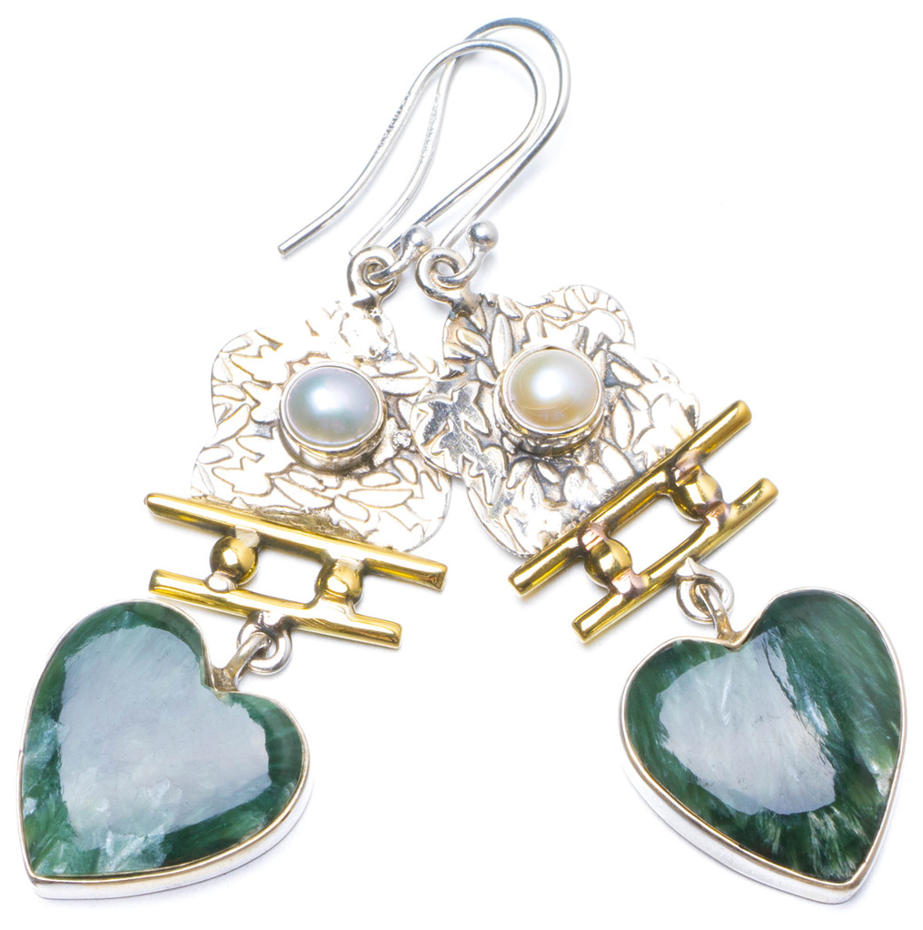 Natural Two Tones Russian Seraphinite and River Pearl 925 Sterling Silver Earrings 2.25 X5059 соус паста pearl river bridge hoisin sauce хойсин 260 мл