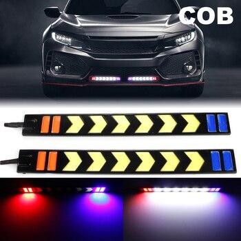 OKEEN impermeable 12V COB LED 17CM 21CM DRL doble Color luces de circulación diurna tira blanca ámbar con señal de giro flash estroboscópico 8W