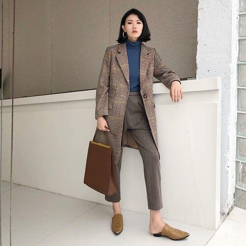 Plein Mode Plaid Femmes Blazer Coréenne Simple Bouton Air Automne Et À D'hiver kaki Longues Blazers Formelle Costume Manches Noir Vestes Élégant Longue ZXwqvYX