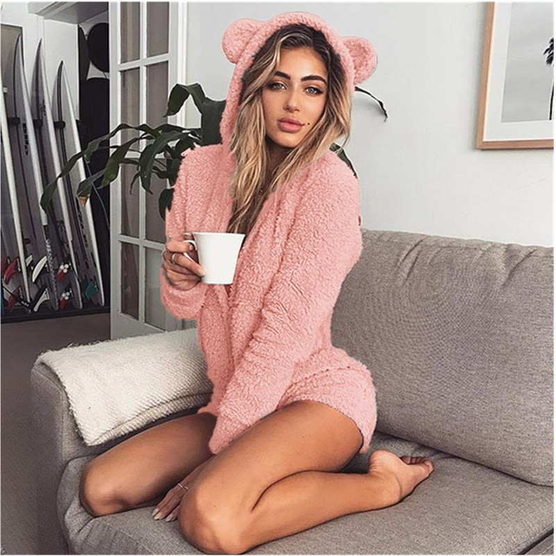 ZOOLIM Winter Warm Pajama Kigurumi For Adults Hooded Rabbit Ear Fleece Onesie Women One-piece Animal Jumpsuit Pajamas For Adults