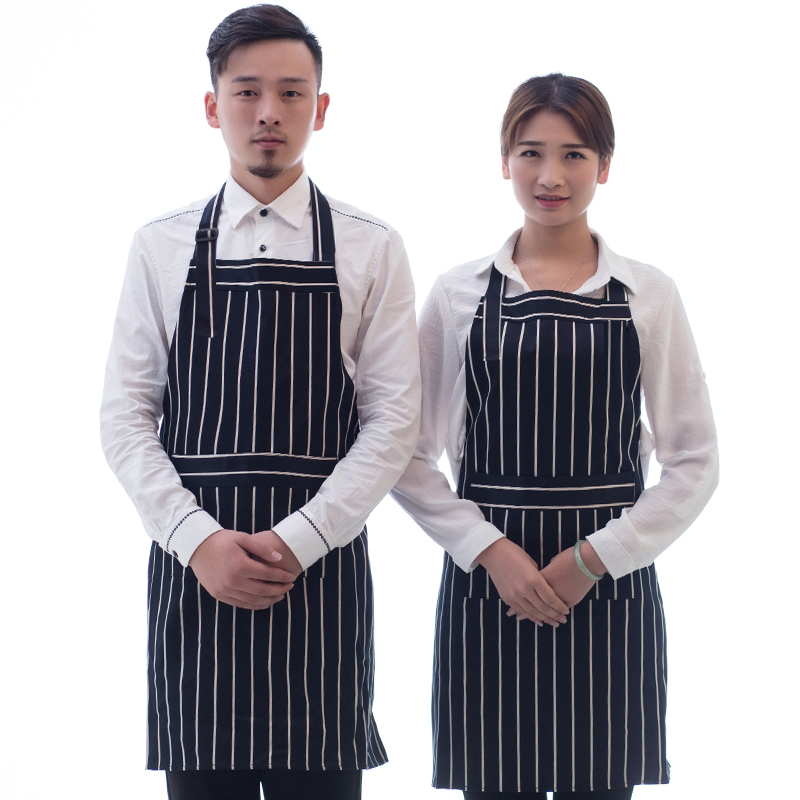 Mens Waterproof Whole Body Kitchen Black White Sripes Sleeveless Apron Striped Adult Pure Cotton Big Pocket Work Clothes