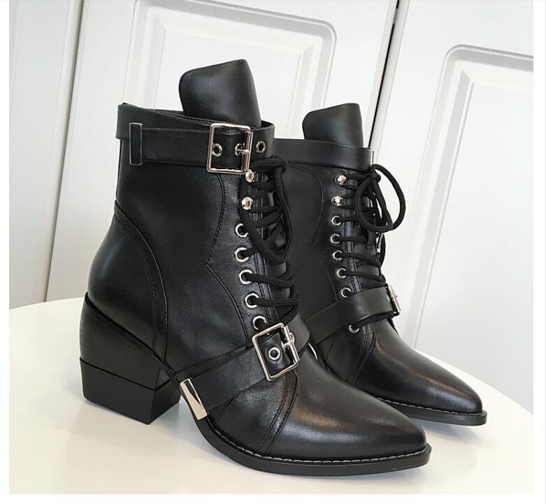 78e2498b0cc C90 Bout Cuir Lacets Chaussures 34 Moto Sz Femmes Hauts Véritable 39 À Mi Boucles  Bottes ...