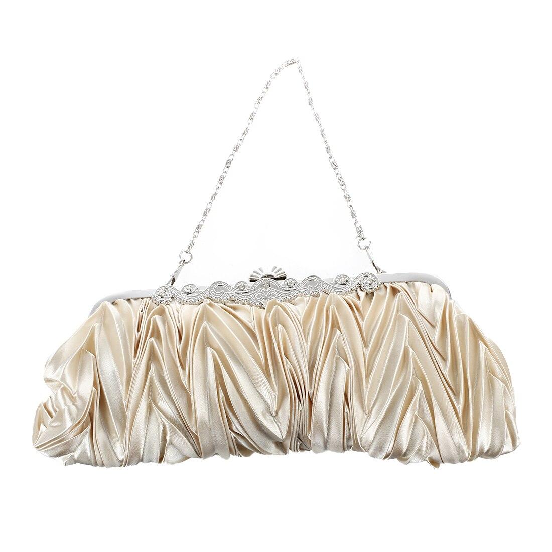 Satin Pleat Ivory Bridal/Evening/Party Clutch Handbag w/ Rhinestones Style аксессуар чехол lg max l bello 2 skinbox slim aw white t f lm 001
