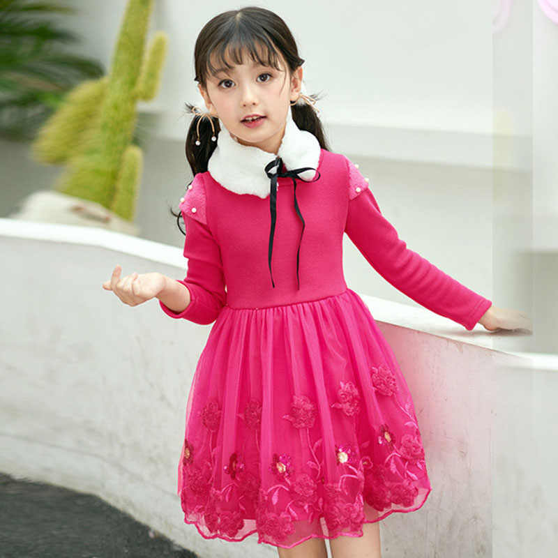 60c078aa5e00c Winter Girls Dress Long Sleeve Velvet Christmas Princess Dresses For Girls  Clothing Casual Party Kids Dress 4 6 8 10 12 13 Years