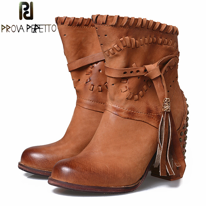 Prova Perfetto Carving Hollow Out Women Winter Ankle Boots Rivet Studded Chunky High Heel Side Zip Fringed Woman Martin Boots breasted hollow out zip up teddy