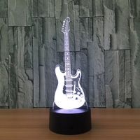 Creative Gift 3D Electric Music Guitar Illusion Lamp LED 7 Color Changing Gradient Baby Child Sleeping