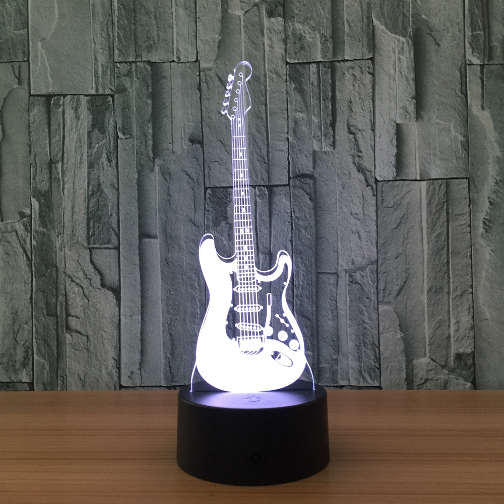 Creative Gift 3D Electric Music Guitar Illusion Lamp LED 7 Color Changing Gradient Baby Child Sleeping Night Light Xmas Gift бита aist 1122525t torx t25 1 4 l 25мм s2 1 шт