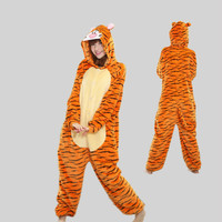 New Unisex Adult Flannel Pajamas Animal Pyjama Suits Cosplay Adult Winter Jump Tiger Cute Cartoon Animal