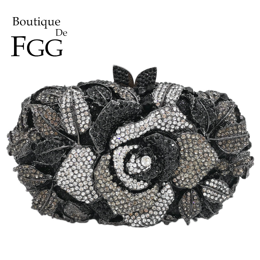 Boutique De FGG Black Jet Crystal Clutch Evening Bag For Women Metal Floral Clutches Wedding Party Flower Rose Handbag and Purse