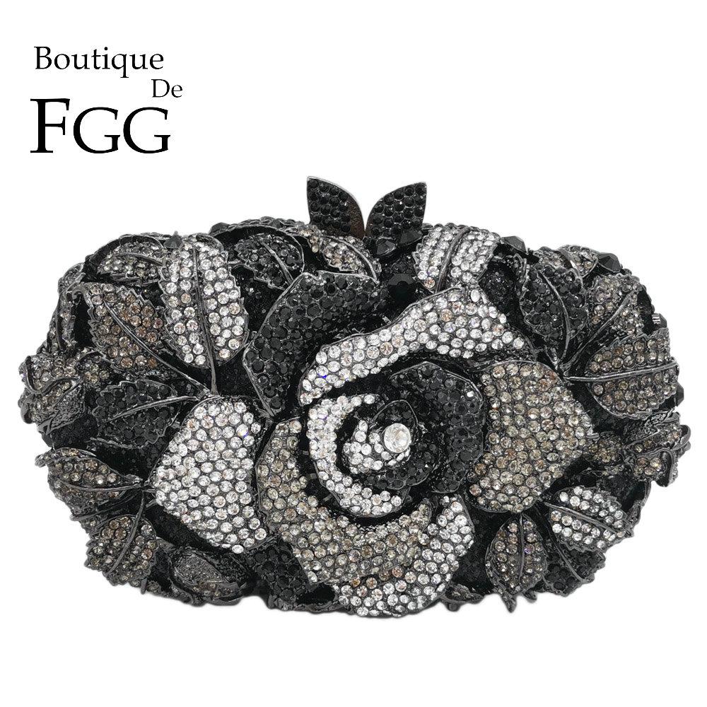 Boutique De FGG czarny Jet torebka z kryształkami wieczór torba dla kobiet metalowy kwiatowy sprzęgła kwiat na wesele wzrosła torebka i torebka w Torby z uchwytem od Bagaże i torby na  Grupa 1
