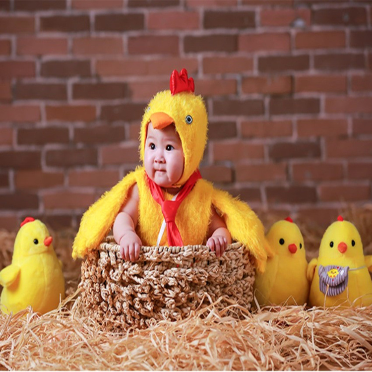 Halloween Newborn Baby Photography Props Unisex Animals Chicken Bodysuit+Hat Cosplay Costume Outfit Studio Shoot Photo Playsuit