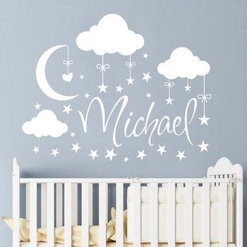 Personalisierte Name Wand Aufkleber Wolken Mond Sterne Wand Aufkleber Babys Schlafzimmer Decor Customized Name Vinyl Kindergarten Wandbild Ay926