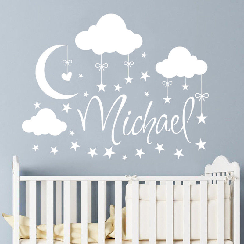 Personnalisé nom mur décalcomanie nuages lune étoiles mur autocollant Babys chambre décor personnalisé nom vinyle pépinière murale AY926