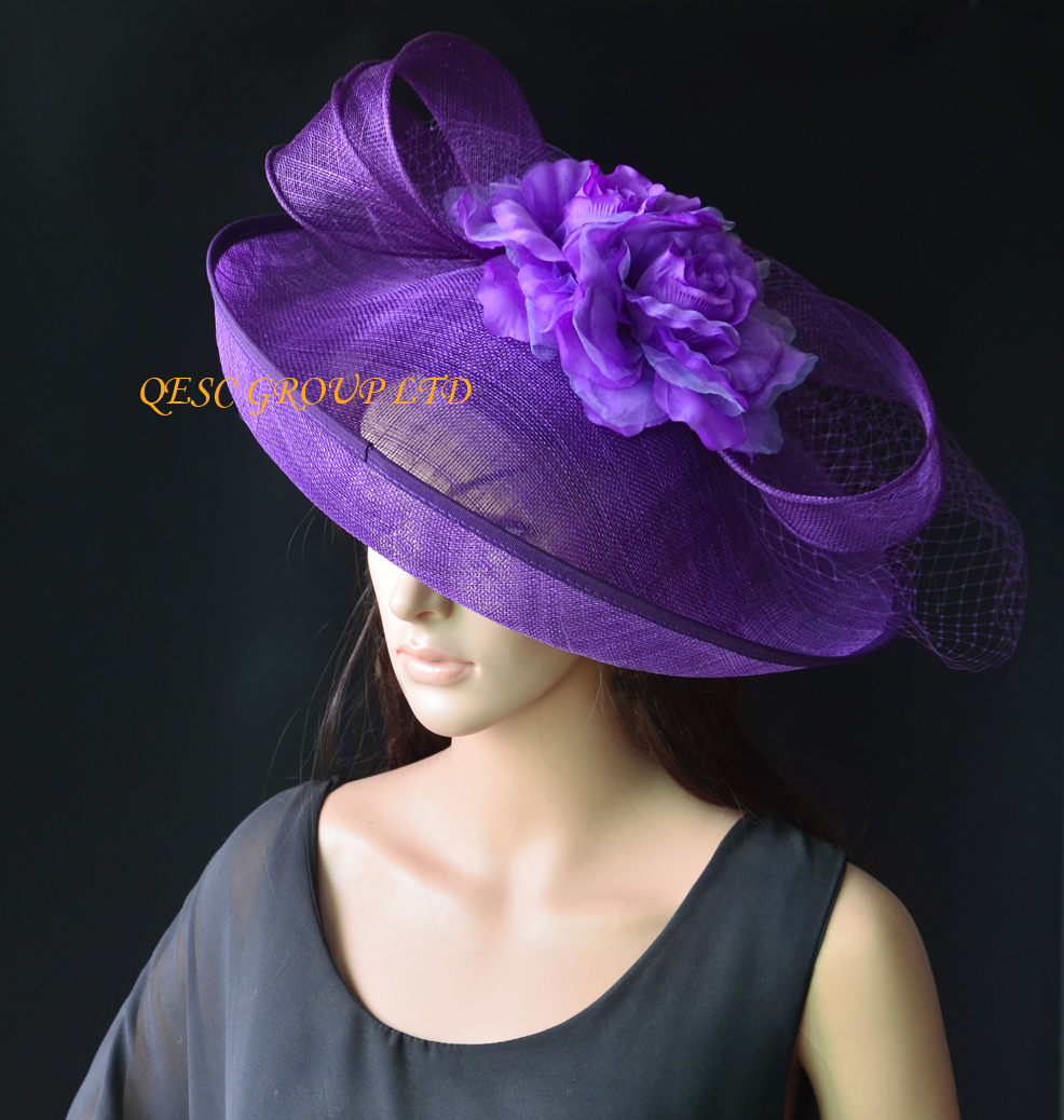 789cbf169faec NEW Purple Large sinamay hat saucer fascinator hat Silk flower fascinator  veiling fasinator for races