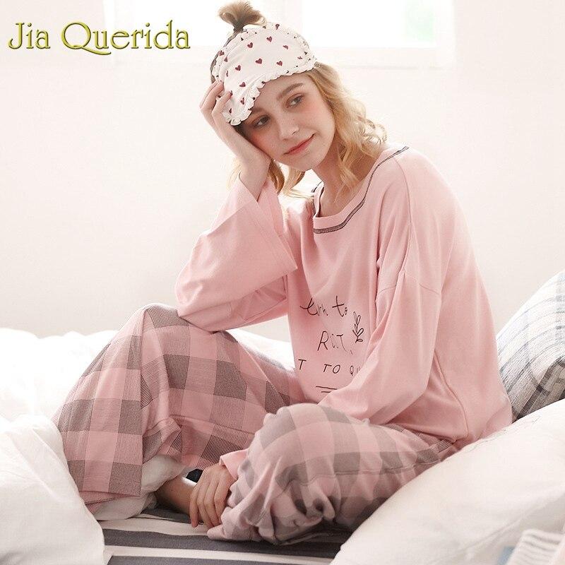 J&Q Fashion Pajamas Women 2019 New Trendy Cotton Home Wear Pink Printing Top Plaid Loose Bottoms 100% Cotton Brand Pajama Set