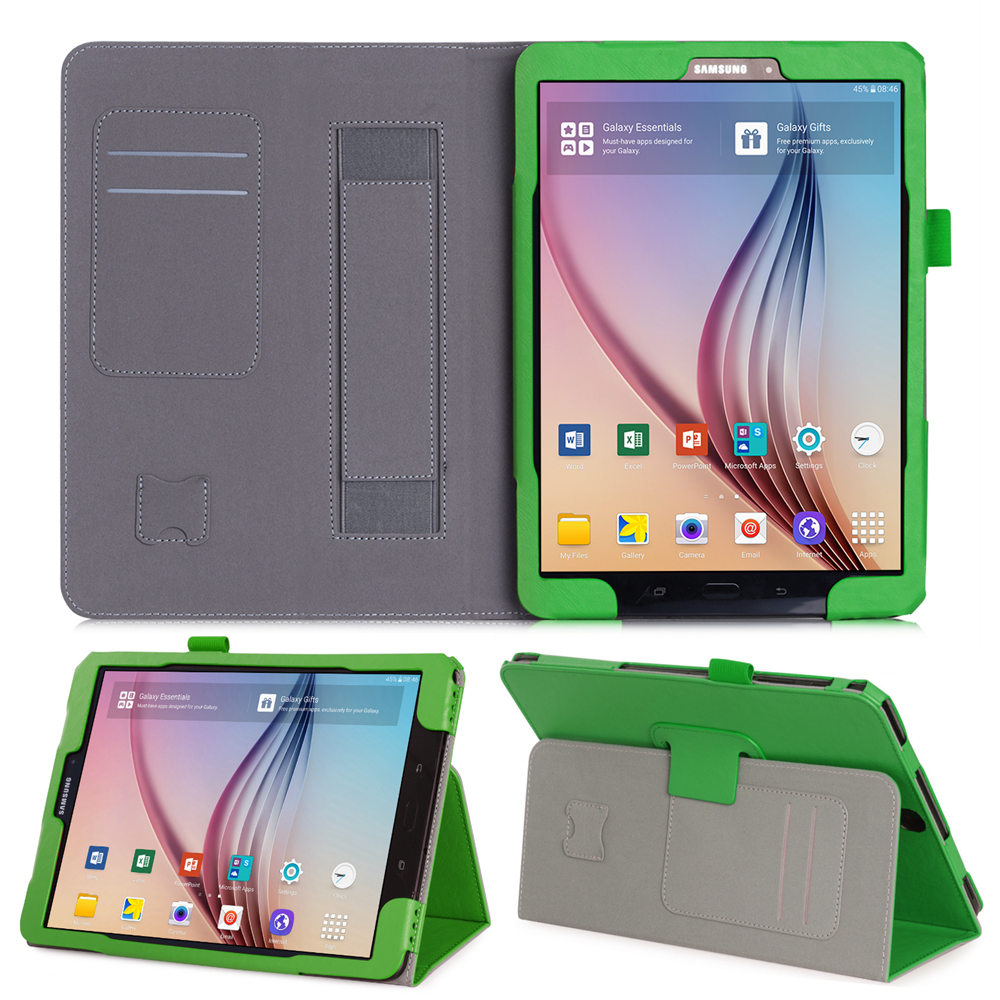 For Samsung Galaxy Tab S3 9.7 T820 T825 Tablet Slim Magnetic Premium PU Leather Stand Case Cover With Hand Strap Card Slot