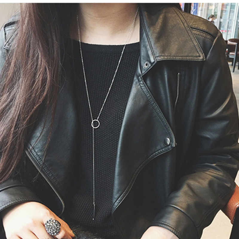 Fashion new silver jewelry circle strip long chain pendants and necklaces for women choker simple metal chain necklace X205