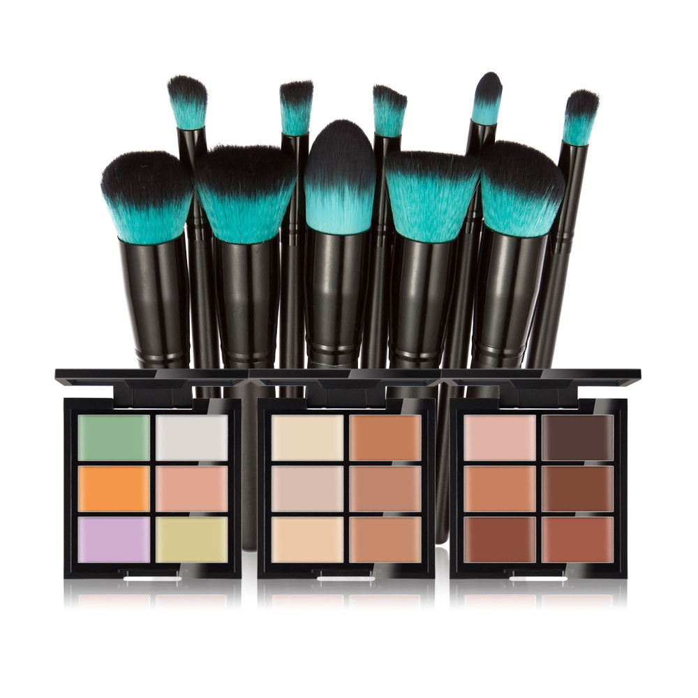 Hot Beauty Makeup Brush Set Professional 6-Color Concealer Primer +10 Black Handle With a Blue Head Brushes maquiagem 7.25