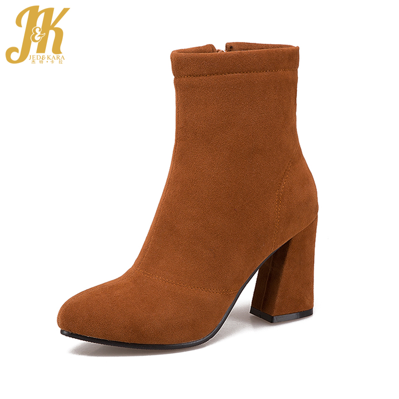 J&K Big Size 34-43 Simple Ankle Boots for Women Zipper Round toe High Heels Shoes Woman Winter Boots Female Footwear New Arrive цена 2016