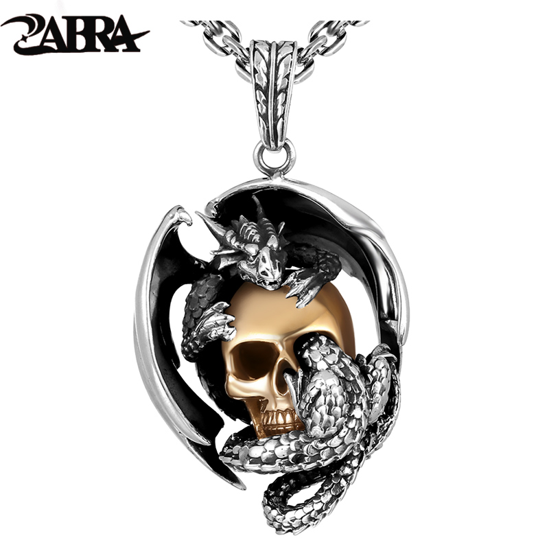 ZABRA 925 Silver Dragon with Gold Color Skull Men Pendant Necklace Vintage Punk Rock Biker Men Bar Accessories Sterling Jewelry