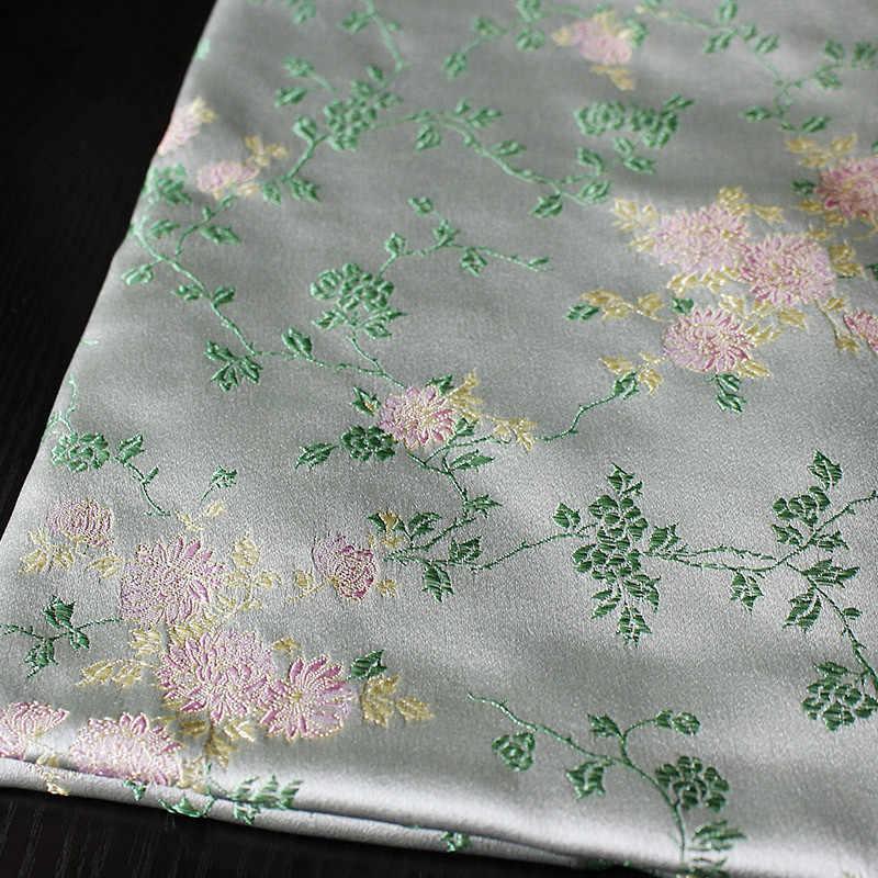 CF547 1 м серый с розовыми цветами из жаккардовой парчи Китайский cheongsam платье одежда шелковая тканевая Подушка DIY швейная ткань