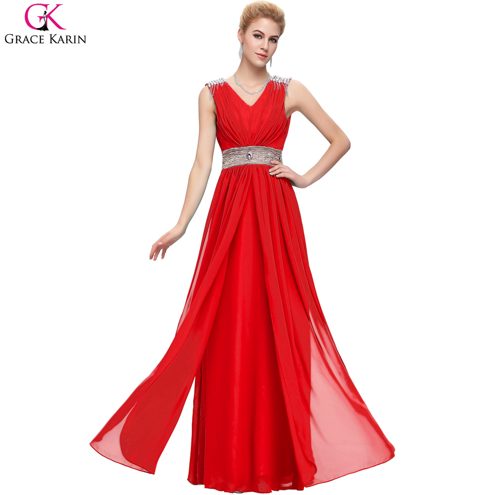 Red Long Evening Dresses 2017 New Arrival Sexy V Neck Turquoise Prom Party Dress Grace Karin Formal Dress Vestido De Festa
