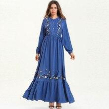 Women Long Sleeves Spring Maxi Dress Floral Embroidery Pleated Long Dress Plus Size 4XL Ruffles Mermaid Paty Dress trendy long sleeves voile splice mermaid dress for women
