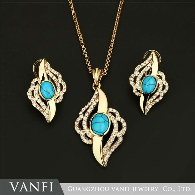 Kfvanfi Hot Selling Fashion Necklace Earrings Jewellery Indian Gold Color Jewelry Sets With Blue Stone For Women Anniversary