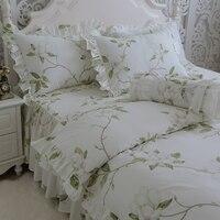 Элегантный зеленый комплект постельного белья с цветами, хлопок девушки Твин Полный Королева Король, один двойной домашний текстильная под