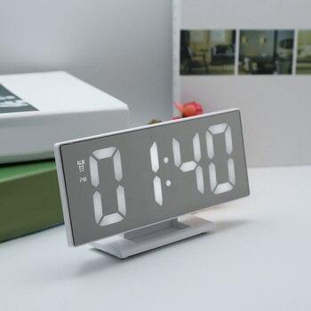 New Upgrate Digital Alarm Clock LED Mirror Clock Multifunction Snooze Display Time Night Led Light Table Desktop Despertador Маникюр