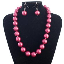 New Discount 12mm Rose Red Sea Shell Pearl Necklace Earrings Beads Women Fashion Jewelry Making Design Jewelry Set Natural Stone(China)