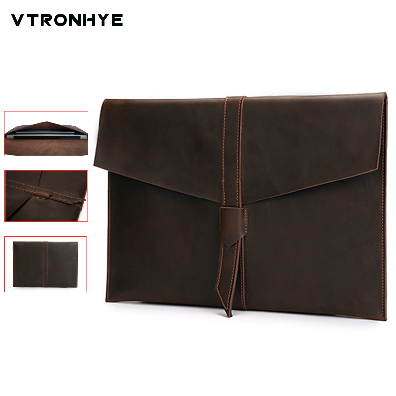 Retro Envelope Leather Laptop Bag for Macbook Pro 13 15 Retina for Mac book air 11 13 Inch Notebook Case Handbag for Men Women notebook bag 12 13 3 15 6 inch for macbook air 13 case laptop case sleeve for macbook pro 13 pu leather women 14 inch